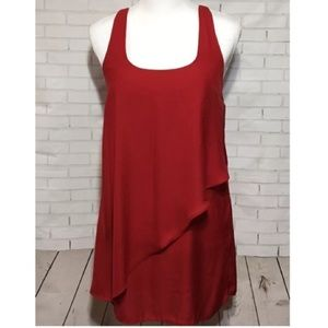 Silence and Noise Red Layered Tank Mini Dress Sz S